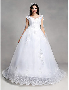 A-line Wedding Dress Vintage Inspired Chapel Train V-neck Lace / Tulle with Appliques / Sequin / Beading
