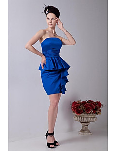 קצר \ מיני סאטן סקסי שמלה לשושבינה - מעטפת \ עמוד סטרפלס עם קפלים
