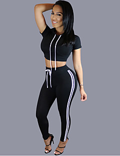 Women's Sports Active Spring / Summer T-shirt Pant Suits,Solid Round Neck Sleeveless Blue / White / Black Cotton / Polyester Medium