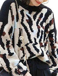 Dames Casual/Dagelijks Eenvoudig Normaal Pullover Luipaard-Zwart Ronde hals Lange mouw Wol / Katoen Herfst Medium Micro-elastisch