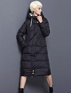 Damen Daunen Mantel,Lang Einfach Ausgehen / Lässig/Alltäglich Solide-Nylon Weiße Entendaunen Langarm Schwarz / Grau Mit Kapuze