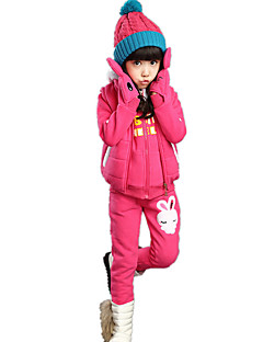 Girl's Cartoon Lovely Fleece Lined Cotton Padded Three Pieces Clothing Sets(Thickness Hoodie Vest and Pants)