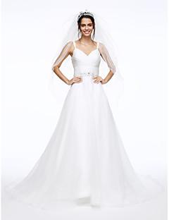LAN TING BRIDE A-line Wedding Dress Beautiful Back Court Train Spaghetti Straps Organza withBeading Button Criss-Cross Ruche Sash /