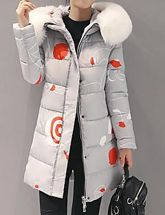 Women's Print Blue / Pink / Red / Beige / Black / Gray / Orange Padded CoatStreet chic Hooded Long Sleeve