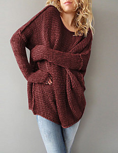 Longue Pullover Femme Décontracté / Quotidien simple,Couleur Pleine Rouge Gris Col Arrondi Manches Longues Polyester Automne Hiver Moyen
