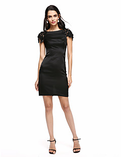 TS Couture® Cocktail Party Dress Sheath / Column Bateau Short / Mini Stretch Satin with Appliques / Beading
