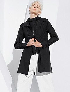 DL.FANG Women's Going out / Casual/Daily Simple JacketsSolid Hooded Long Sleeve Spring / Fall Black  Medium