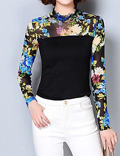 Feminino Blusa Happy-Hour / Casual / Tamanhos Grandes Moda de Rua Primavera / Outono,Floral Azul Algodão / Poliéster Colarinho Chinês