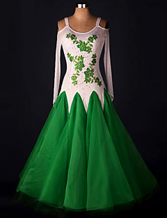 볼륨 댄스 드레스 성능 스판덱스 오르간자 새해 장식 크리스탈/라인석 꽃 1개 긴 소매 높음 드레스 S-XXXL: 120-130