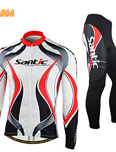 SANTIC® Cycling Jersey with Tights Men's Long Sleeve BikeBreathable / Thermal / Warm / Windproof / Anatomic Design / Fleece Lining /