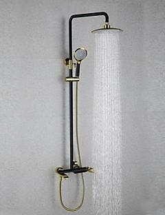 伝統風 壁式 レインシャワー with  セラミックバルブ シングルハンドル二つの穴 for  オイルブロンズ , シャワー水栓