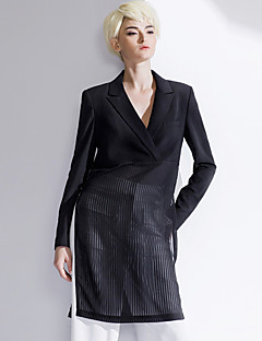 Women's Going out / Casual/Daily Simple Spring / Fall Blazer,Striped / Patchwork Notch Lapel Long Sleeve Black Polyester Medium