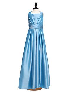 Hasta el Suelo Tafetán Vestido de Dama de Honor Junior Corte en A Cuadrado con Cinta / Lazo / Fruncido / Plisado