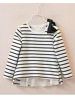 Casual/Dagelijks-Gestreept-Katoen-Lente / Herfst-Girl's-T-shirt-Zwart / Rood