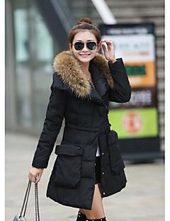 Manteau Doudoune Femme,Longue simple Décontracté / Quotidien Couleur Pleine-Polyester Duvet de Canard Blanc Manches Longues