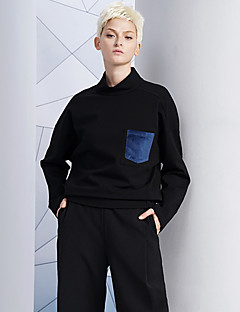 DL.FANG Women's Going out / Casual/Daily Simple Regular HoodiesPatchwork Black Turtleneck Long Sleeve Winter Medium