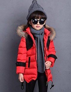 Girl's Casual/Daily Color Block Down & Cotton PaddedPolyester Winter Black / Brown / Red