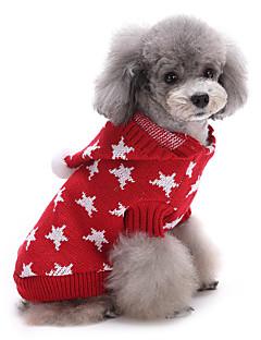 猫用品 犬用品 セーター 犬用ウェア 冬 Stars キュート 保温 クリスマス レッド ブルー