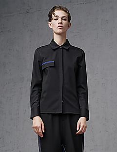 여성 솔리드 셔츠 카라 긴 소매 셔츠,심플 데이트 / 캐쥬얼/데일리 블랙 면 / 나일론 / 스판덱스 봄 / 가을 중간