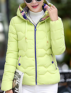 New Arrival Women's Regular Padded CoatSimple Casual/Daily Solid-Polyester Polyester Long Sleeve Hooded Blue / Pink / Black
