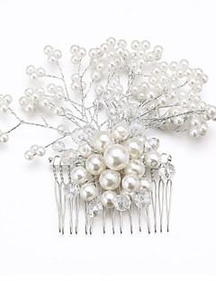 נשים סגסוגת דמוי פנינה זירקונה מעוקבת כיסוי ראש-חתונה אירוע מיוחד מסרקי שיער פרחים