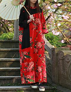 Kadın Günlük/Sade Çin Stili Çan Elbise Çiçekli,Uzun Kollu Dik Yaka Maksi Kırmızı Pamuklu / Keten Bahar / Sonbahar Normal Bel Esnemez Orta
