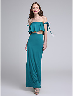 2017 Lanting Bride® Ankle-length Jersey Sexy Bridesmaid Dress - Off-the-shoulder with Bow(s)