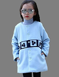 Girl's Casual/Daily Print Blouse / Trench CoatCotton Winter Blue / Beige