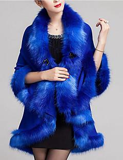 Dames Eenvoudig Herfst / Winter Cloak / Capes,Casual/Dagelijks V-hals-Driekwart mouw Blauw / Rood / Zwart / Bruin / Paars Effen / Print