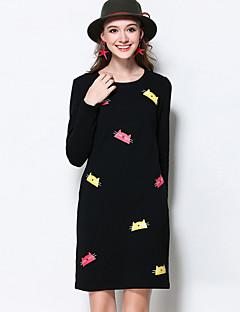 Damen Etuikleid Kleid-Ausgehen / Lässig/Alltäglich / Übergröße Einfach / Street Schick / Aktiv Solide / Tierfell-Druck Rundhalsausschnitt