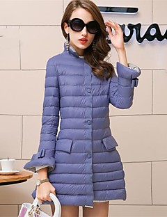 Women's Long Padded Coat,Simple Going out Solid-Cotton Polypropylene Long Sleeve Hooded Blue / Black