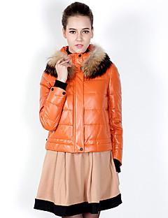 Dames Effen Kort Dons Jas-Casual/Dagelijks Eenvoudig Wit eendendons Overige Strakke ronde hals Lange mouw Oranje