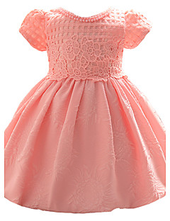Baby Party/Cocktail Dress Blomstret Polyester Alle årstider Rosa / Hvit
