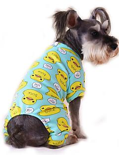 고양이 개 점프 수트 파자마 강아지 의류 겨울 모든계절/가을 만화 귀여운 캐쥬얼/데일리 옐로우 레드 블루 핑크 블루 - 옐로우