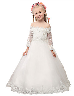 השמלה של השמלה אורך השמלה פרח ילדה - שרוול תחרה 3/4 אורך מחוץ לכתף