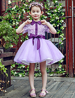 Ball Gown Short / Mini Flower Girl Dress - Lace Tulle High Neck with Buttons Flower(s) Sash / Ribbon