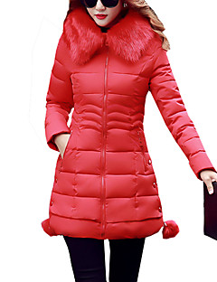 Women's Long Padded CoatSimple / Street chic Plus Size Patchwork Fur Warm Long Sleeve Hooded