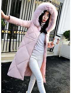 Women's Long Down Coat,Simple Plus Size / Casual/Daily Solid-Cotton Polypropylene Long Sleeve Hooded Pink / Black / Silver