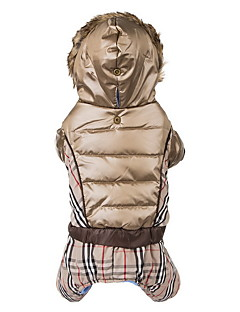 Dog Coat Hoodie Clothes/Jumpsuit Brown Beige Dog Clothes Winter Spring/Fall Plaid/Check Fashion Keep Warm Windproof