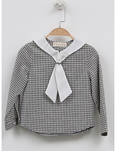 Girl's Casual/Daily Check ShirtCotton Fall Gray