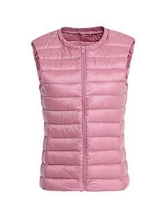 Dame Normal Polstret Langermet Frakk,Enkel / Gatemote Fritid/hverdag / Plusstørrelser Ensfarget-Polyester Polyester Rund halsBlå / Rosa /