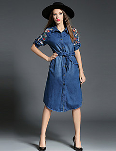 כל העונות כותנה / פוליאסטר כחול אורך חצי שרוול עד הברך צווארון חולצה רקמה פשוטה ליציאה / יום יומי\קז'ואל שמלה ג'ינס נשים,גיזרה בינונית