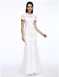 Lanting Bride® Trumpet / Mermaid Wedding Dress Sweep / Brush Train Jewel Lace with Flower