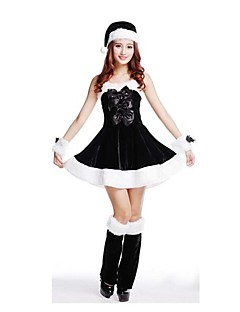 Festival/Højtider Halloween Kostumer Hvid & Sort Ensfarvet Nederdel / Strømpebånd / Hatte Jul Kvindelig Pleuche