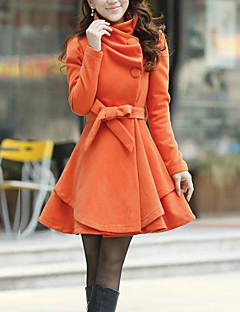 Manteau Femme,Couleur Pleine Décontracté / Quotidien Mignon Manches Longues Asymétrique Rouge / Vert / Orange Polyester Automne / Hiver