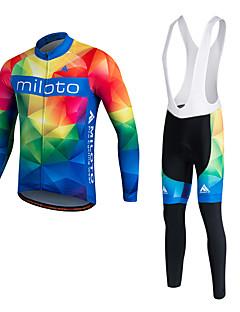 Miloto サイクリングジャージー 男性用 男女兼用 長袖 バイク パンツ シャツ トラックスーツ フリースジャケット / フリース ジャージー サイクリングタイツ ビブタイツ トップス 洋服セット保温 速乾性 フリースライナーつき 透湿性 耐久性 高通気性