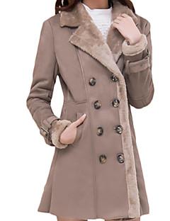 Feminino Casaco de Pelo Tamanhos Grandes Simples Inverno,Sólido Marrom Lã Colarinho de Camisa-Manga Longa Grossa