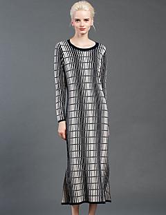 Damen Hülle Kleid-Ausgehen Einfach Geometrisch Rundhalsausschnitt Midi Langarm Wolle Winter Hohe Hüfthöhe Unelastisch Mittel