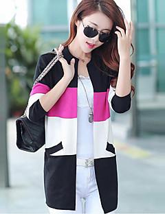 Longue Cardigan Femme Décontracté / Quotidien Grandes Tailles simple Chic de Rue,Rayé Bleu Rose Noir Col Arrondi Manches Longues Polyester