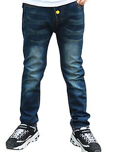 מכנסיים יום יומי\קז'ואל אחיד כותנה חורף כחול הילד של
